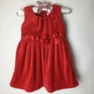 Carter's Baby Girls Sleeveless Velvet Red Dress